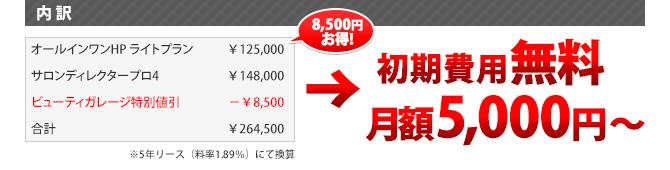 内訳:初期費用無料、月額5,000円~